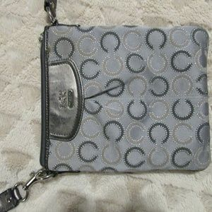 Coach Mini Side Satchel Gray and Silver
